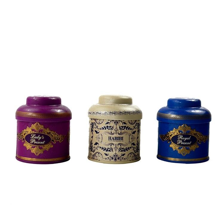 Mini Small luxurious Tea Candy Box Metal Tin Storage Boxes 3 pcs tin box into one paper box