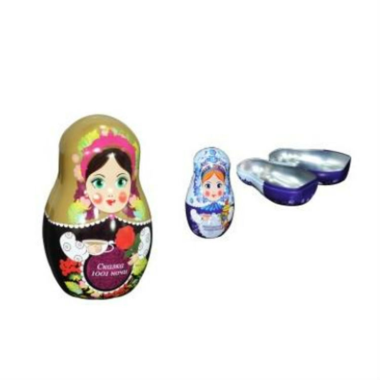 2019 new customized printing Matryoshka doll shape toy tin can packing tin box for chocolate and toy