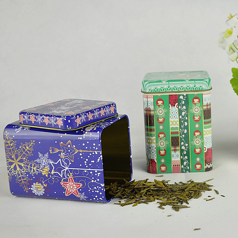 Custom printed Tea Caddy Pastoral Candy Tin Mini Iron Storage Boxes Seal Coffee Powder Cans Tea Leaves Container Metal Organizer
