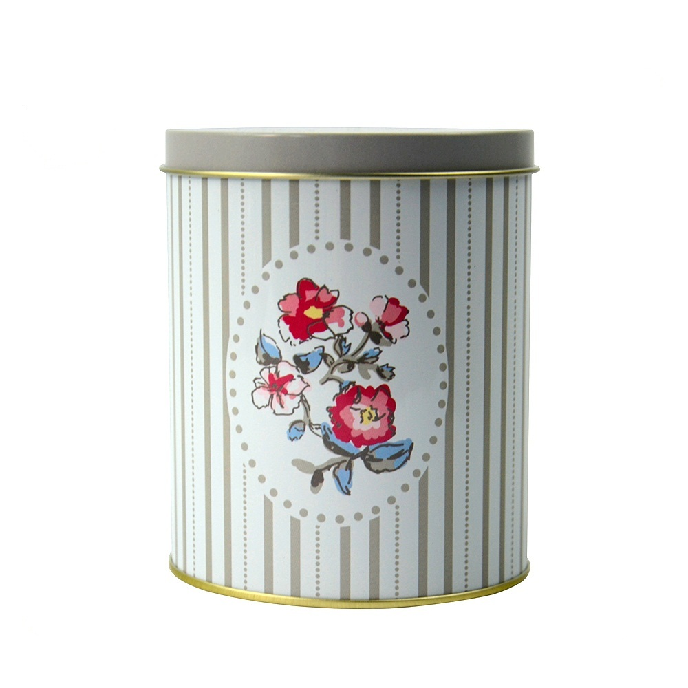 Hot sale custom empty round double lid rose flower tea metal gift tin box