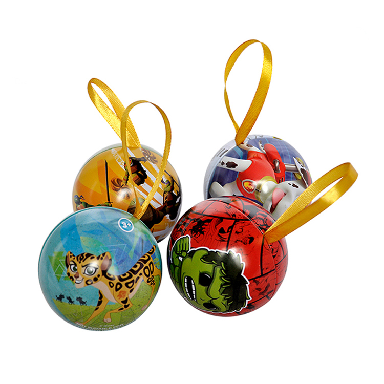 Hot salehigh quality metal Christmas ball shape tin box packaging cute cartoon cookie tin small size metal tin cans