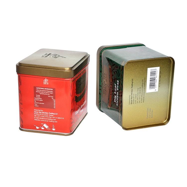 Food Grade Rectangular Tea Storage Tin Boxes Printed