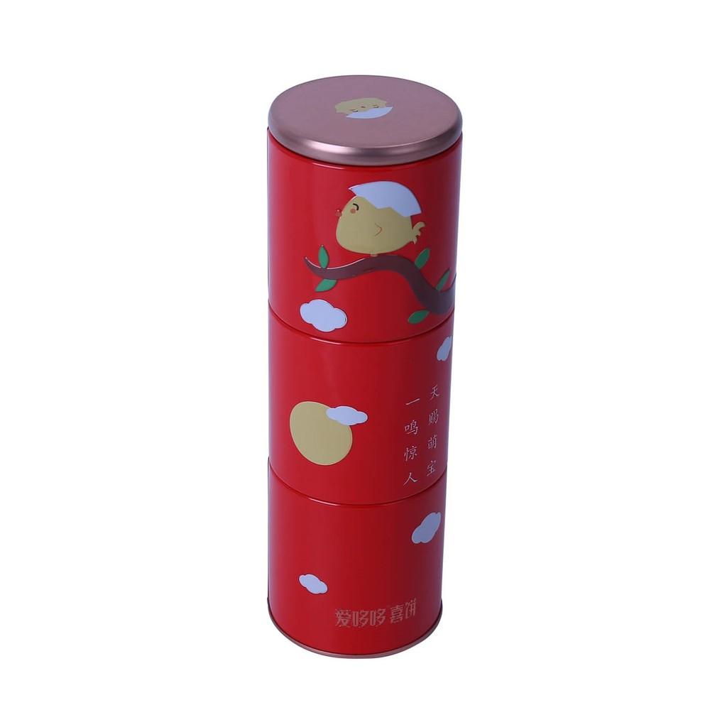 Bodenda hot sale round shape food grade tea tin box three layers coffee tin can assorted tea tin can customized