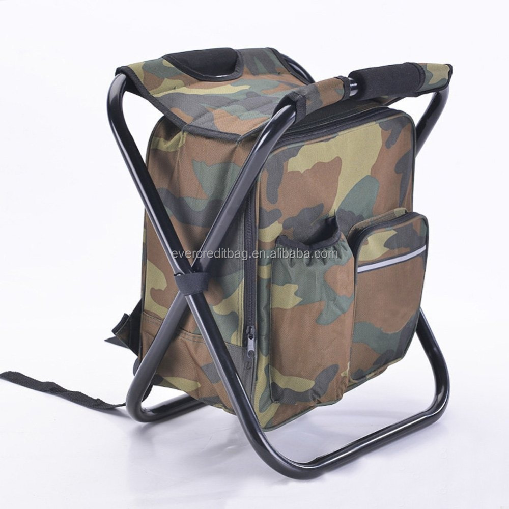 Outdoor Foldable Backpack Chair with Cooler Bag Hiking Camping Fishing Beach Bag
