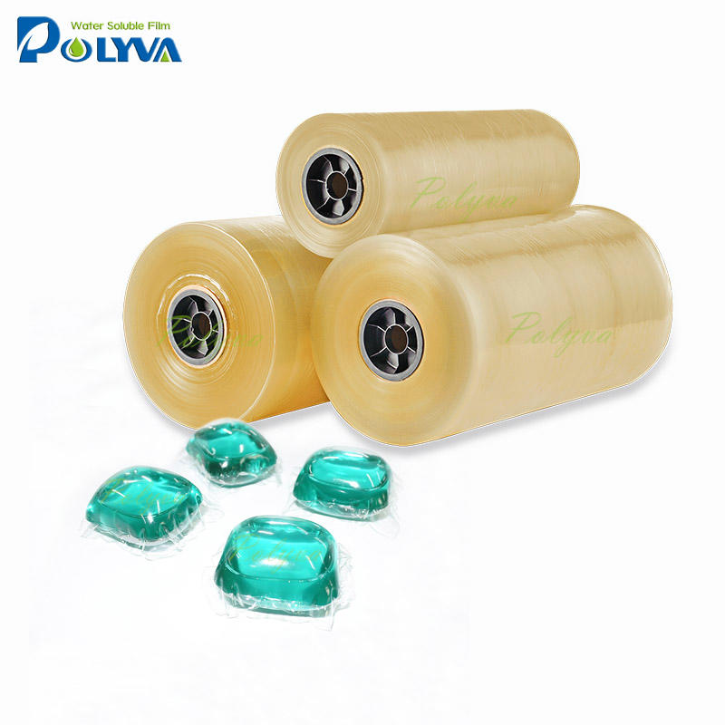 PVA water dissolving plastic film roll for water soluble pods washing capsules liquitabs