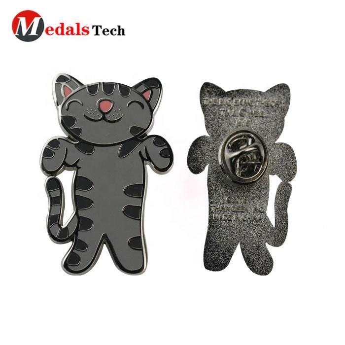 Custom cute cartoon metal silver iron cartoon character hard enamel cat lapel pins with box