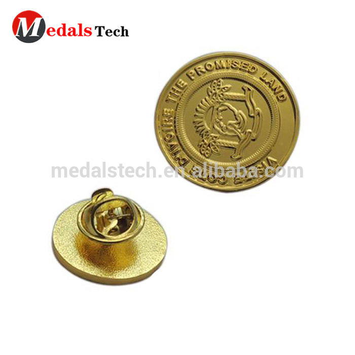 Free artwork custom quality gold coin round shape 24k gold lapel pins