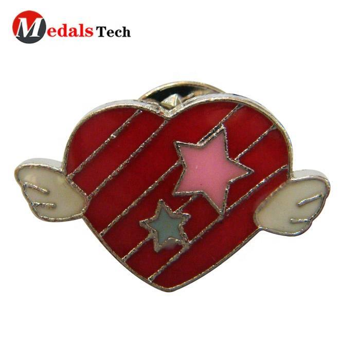 Amazon Fashion individual character metal custom made heart shape enamel embossed pewter anger lapel pin