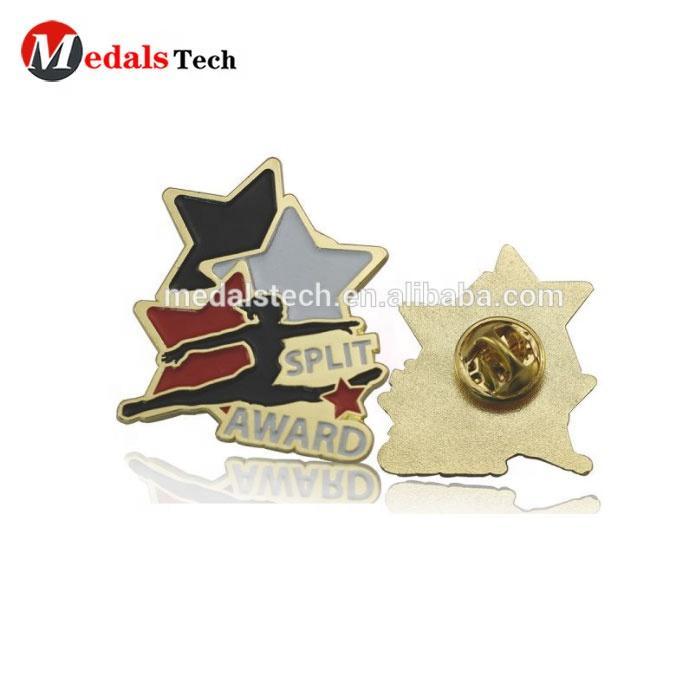 High quality gold soft enamel split award souvenir custom metal wholesale dance gymnastics lapel pins for athletes
