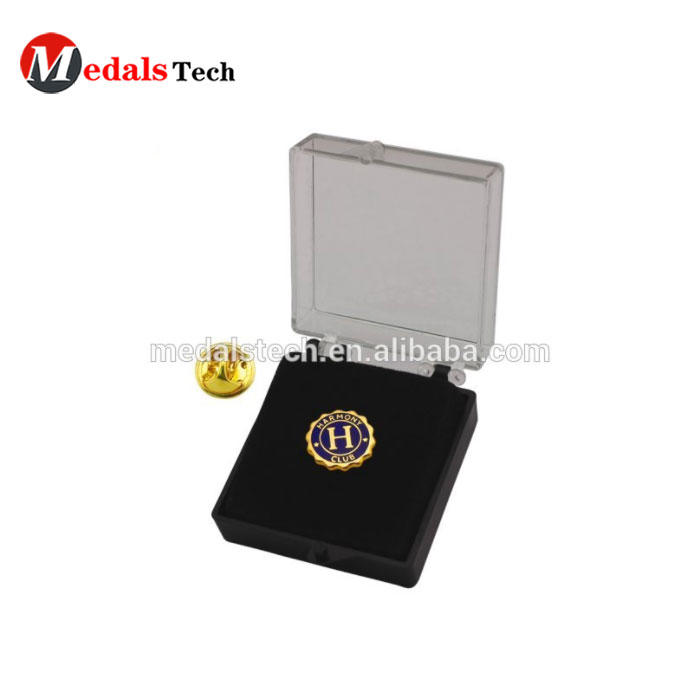 Gold plated unique custom club lapel pin with black box