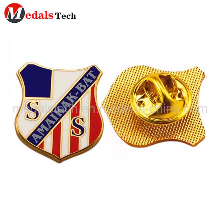 Cheap custom gold plated hard enamel lapel pin with butterfly clutch