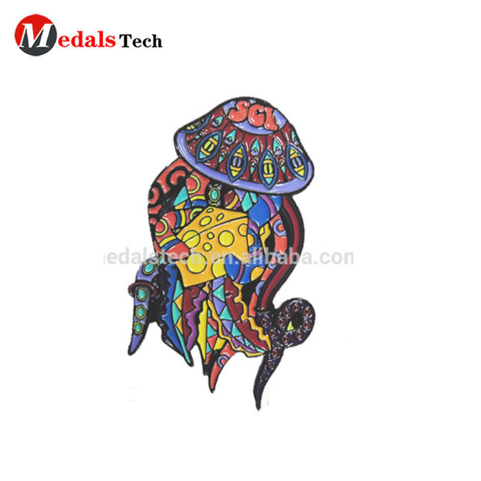Commemorative zinc alloy color filled customized metal jellyfish lapel pins