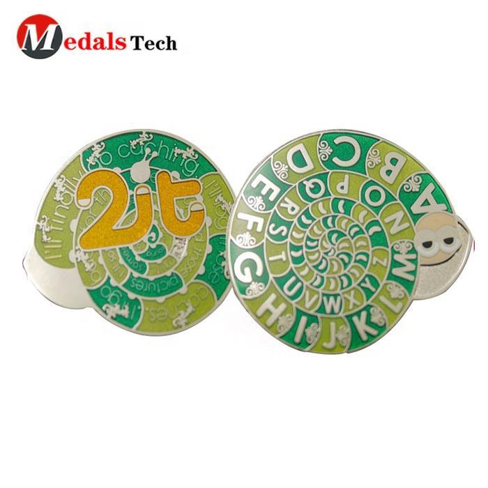 Free artwork design etched 26 letters logo hard enamel ccollection lapel pin badgefor kids