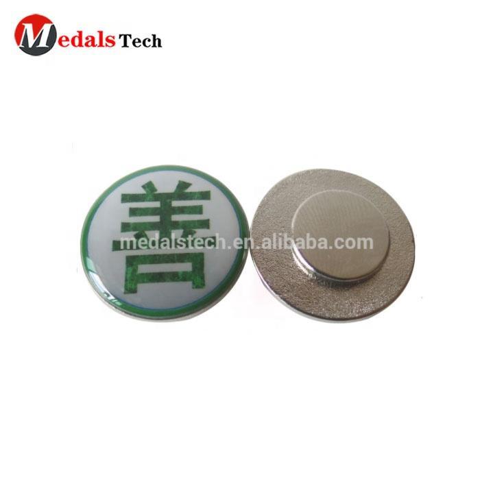 Wholesale alloy silver plated round shape sticker logo custom epoxy name badge magnet plastic name tag