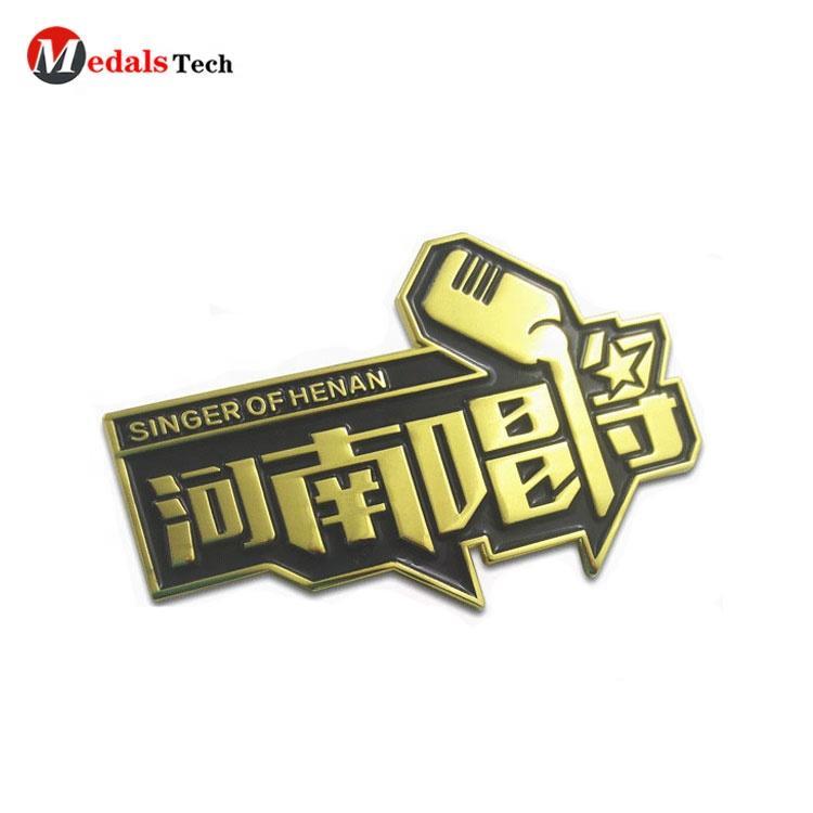 Promotion transparent paint metalantique bronze brass polish custom 3D singing souvenir pin badge