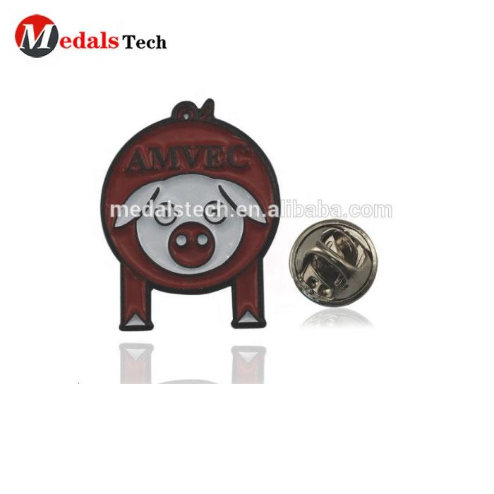 Free sample custom black cheap cute cartoon metal little pig shape lapel pins for sale