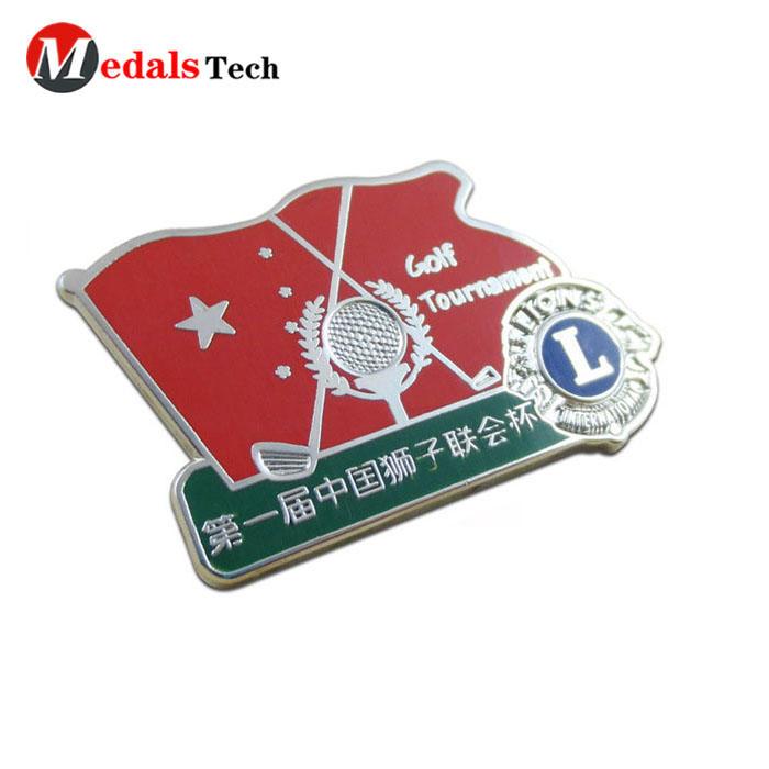 China Professional custom make flag shape golf ball club logo hard enamel national lapel pins