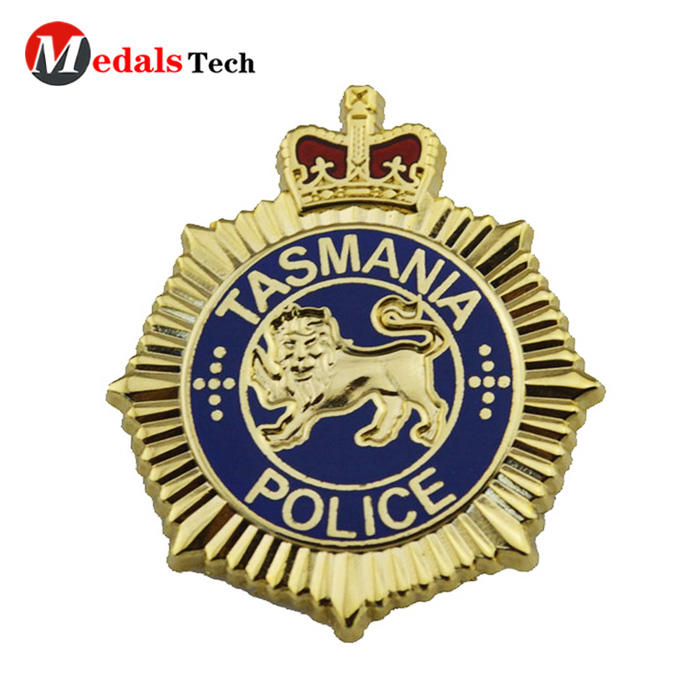 Personalized custom logo zinc alloy police goldbadge