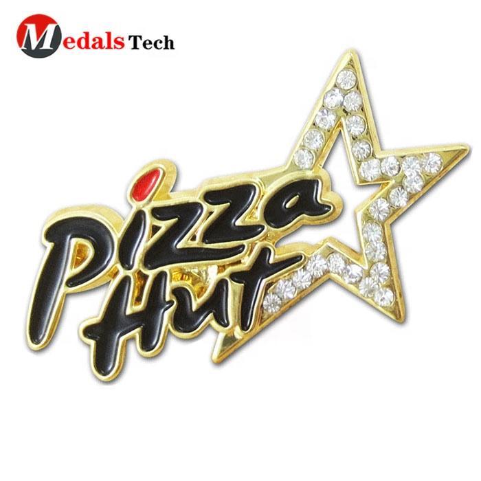 Custom gold metal soft enamel epoxy restaurant cook pizza lapel pins for customer souvenir