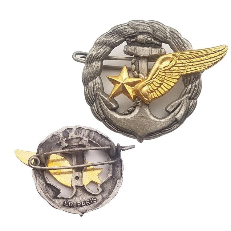 Guangdong factory price wholesale custom game movies antique double plated metal pilot wings pin badge