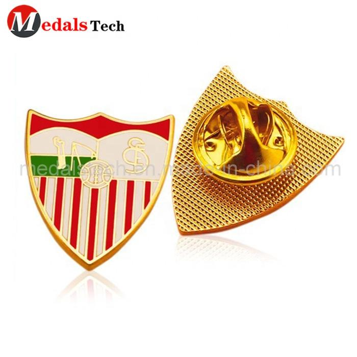 Low price customizedround epoxy coatedmetal shield shape magnet lapel pin with printing logo