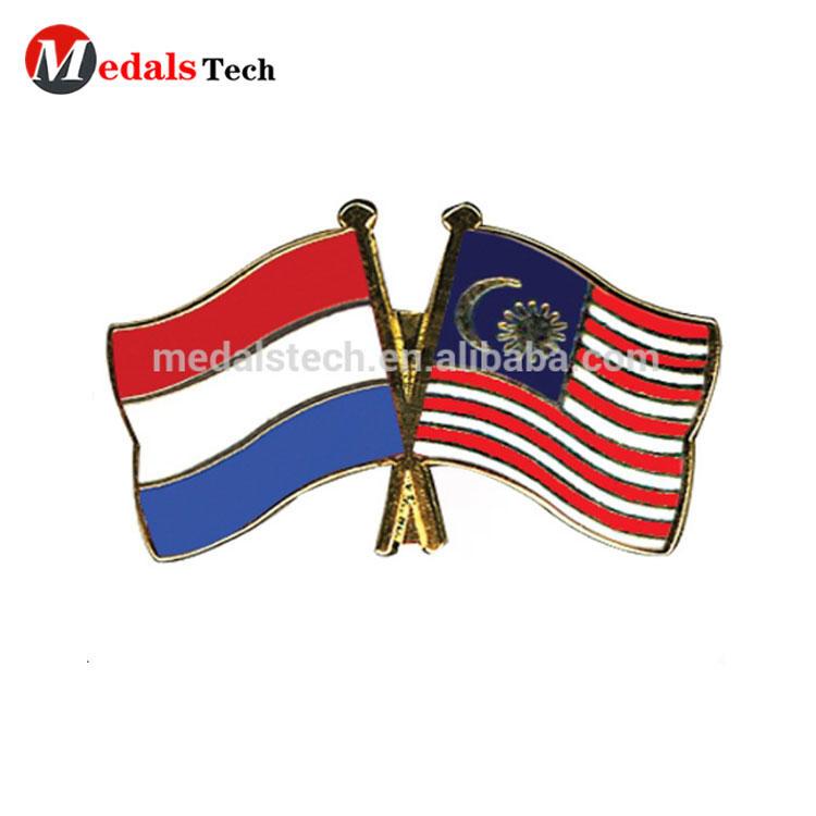 hard enamel Malaysia and New Zealand friendship flag metal lapel pin