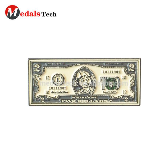 Wholesale new design stock cute metal money shape lapel pins