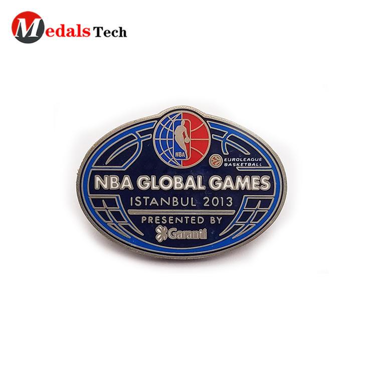 Cheap popular NBA games silver metal souvenir lapel pin