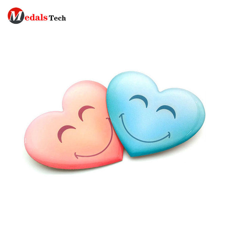 Printing epoxy coated metal smile face heart shape badge with safety pin