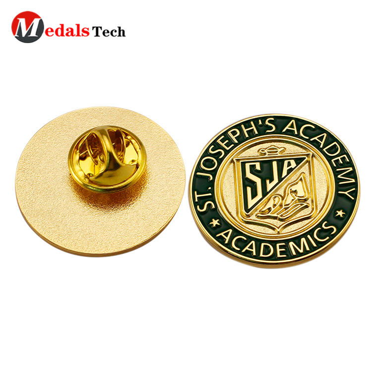 Round shaped custom logo soft enamel academic uniform lapel pin