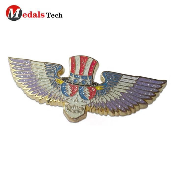 Personalized design glitter color filled enamel 3D wing shape eagle stone badge lapel pins with your logo