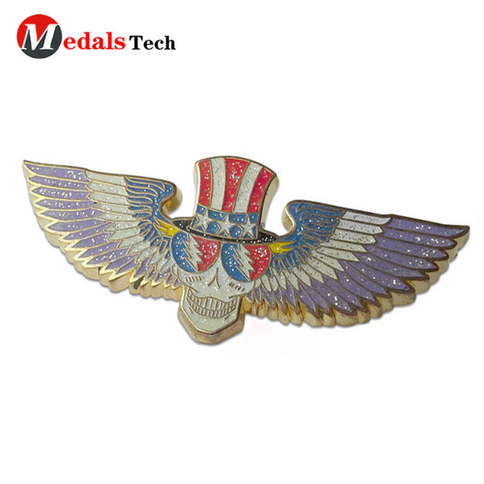 Wholesale cheap antique brass plated iron metal rubber clutch airplane lapel pins