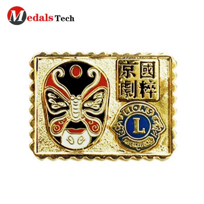 No minimum order color filled metal opera charater face changebadge for clothes personalized logo