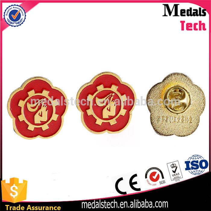 Shenzhen medal factory custom logo laser plating safety pin school badges