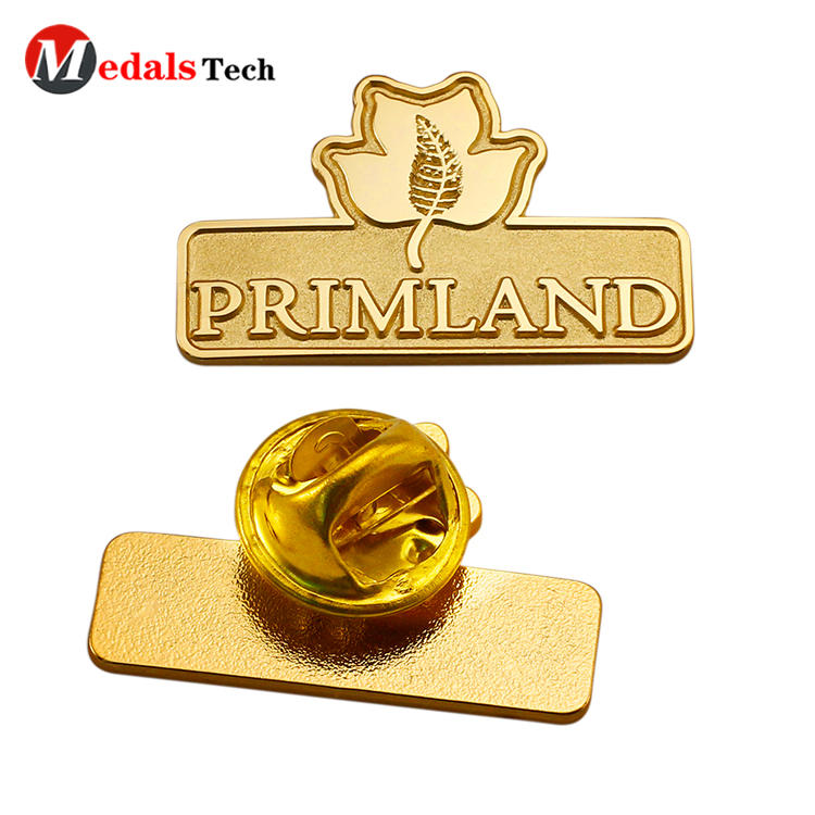 Wholesale cheap handbag gold plating metal tag pin badge