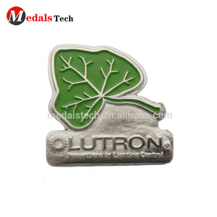 Znic alloy material metal Green leaves shape company name badge with safety pin