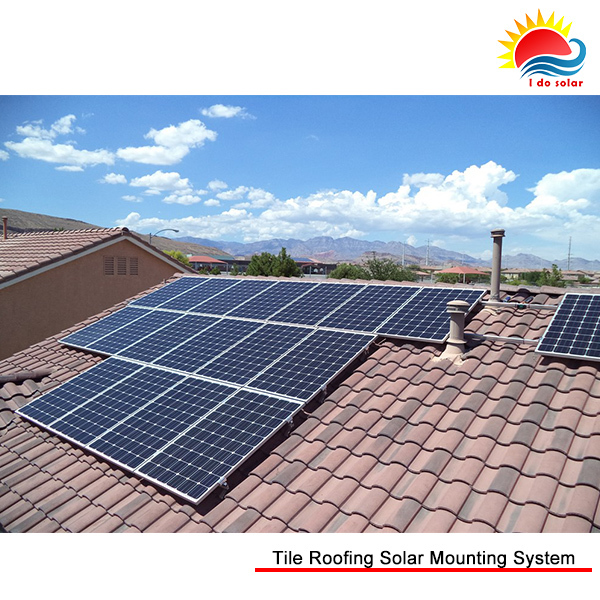 Tile roof solar mounting solution, home solar energy system