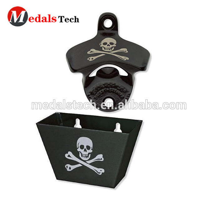Hot sale skull logo custom metal made black wall mounted bottle opener with cap catcher
