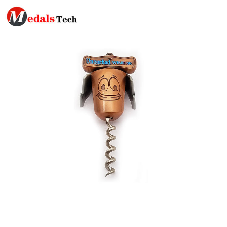 Cheap custom bronze cartoon crockscrew wine bottle opener