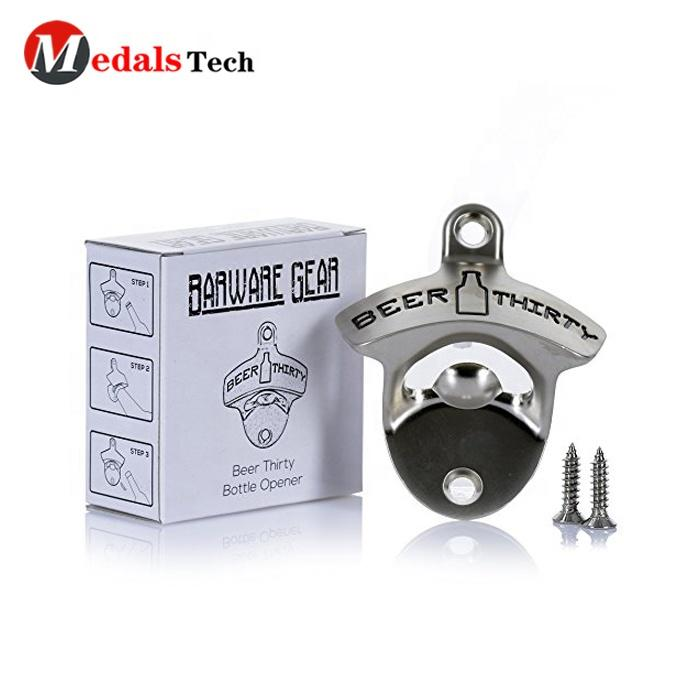 Custom cheap bulk wholesale metal beer wall bottle opener with screws