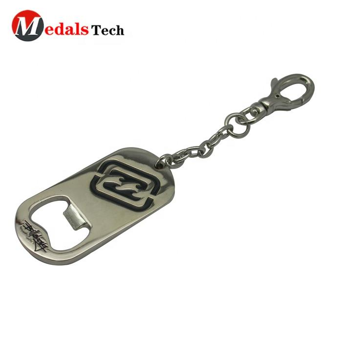 Custom stainless steel silver printing logo dog tag bottle opener keychain for promotion