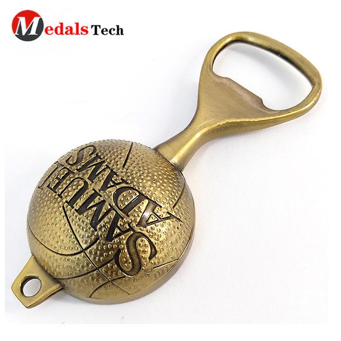 Gold plated custom metal bullet bottle opener for souvenir