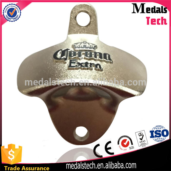 OEM metal material Promotional gifts brass plated beer bottle opener wall mount