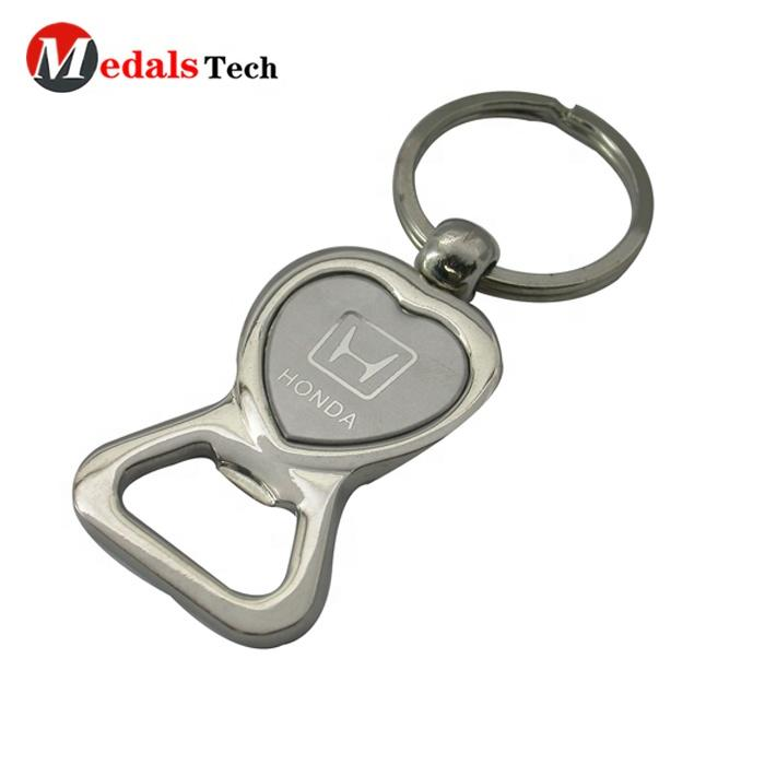 Cheap custom logo metal engraved laser printing sticker logo heart shape bar bottle opener with keyring