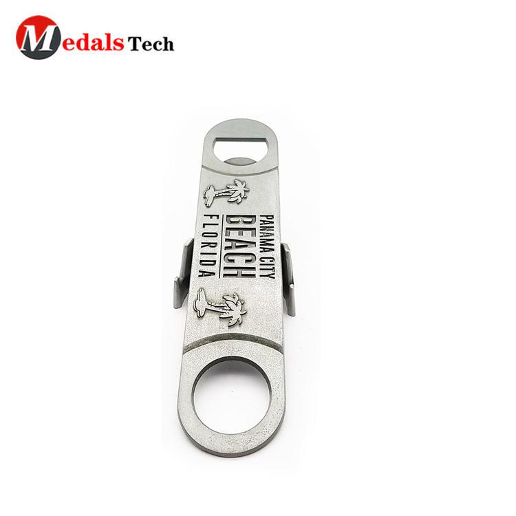 Custom cheap engraved logo flat metal bar blade bottle opener