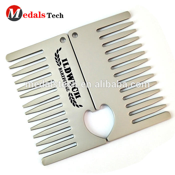Creative weeding souvenir gifts engraved logo stainless steel silver comb wedding bottle opener
