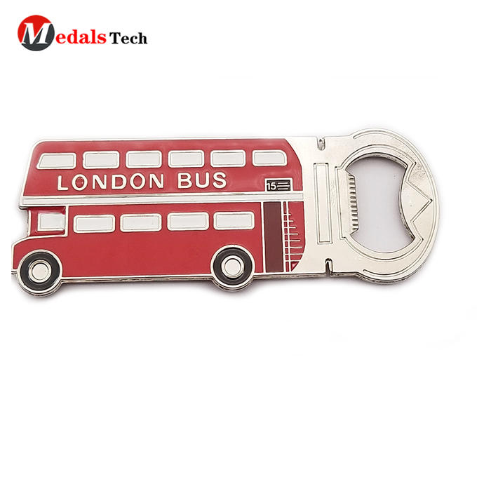Unique promotional soft enamel magnet bus shape bottle opener