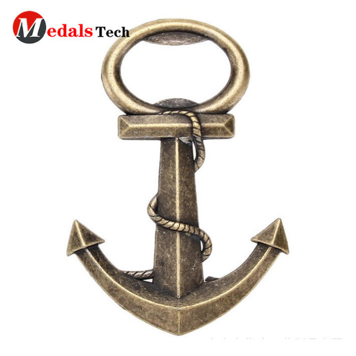 Custom unique antique gold metal anchor shape bottle opener
