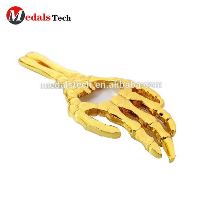 Gold plated custom personal cheap metal skeleton hand bottle opener