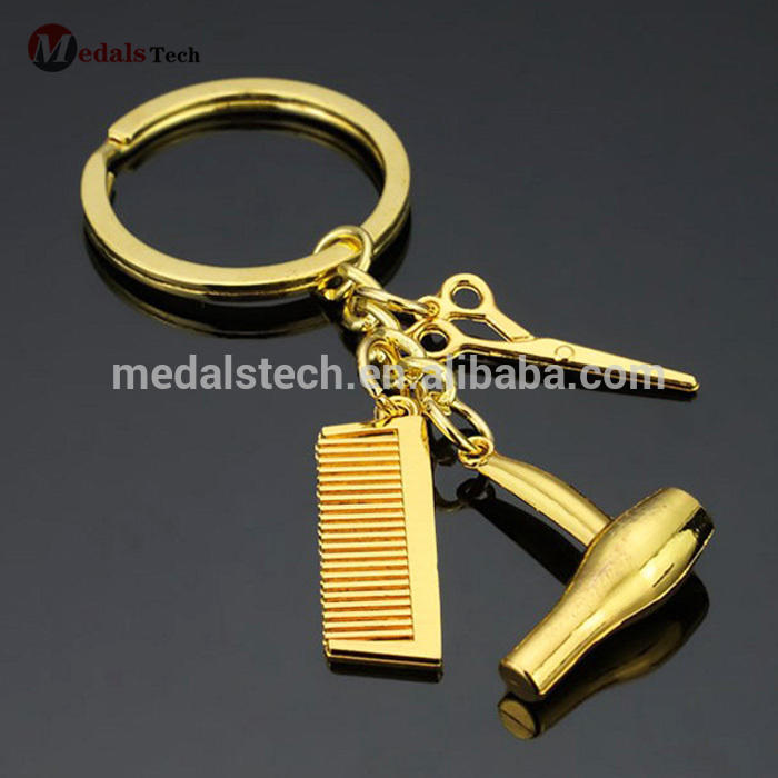 Mini cute metal hair styling tools keychain pocket combs wholesale